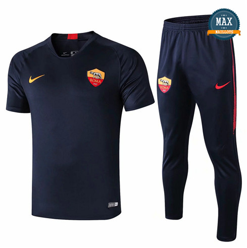 Maillot + Pantalon AS Roma 2019/20 Training Bleu Marine Col V