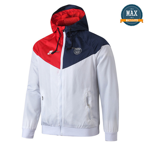 Veste Coupe vent à Capuche Paris Saint Germain 2019/20 Blanc/Rouge/Bleu