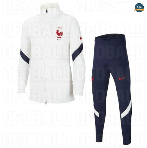 Max Veste Survetement France Enfant 2020/21 Blanc