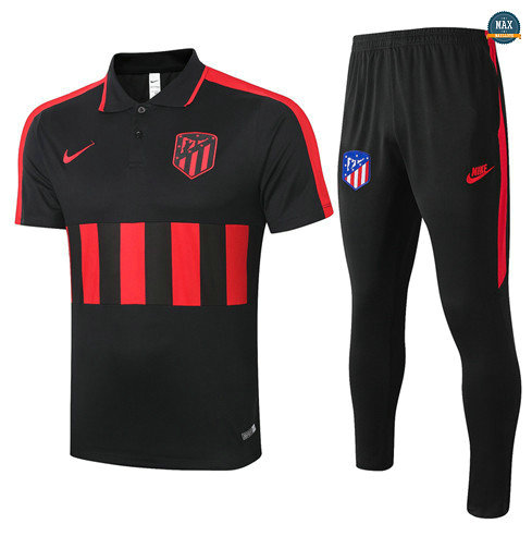 Max Maillots Atletico Madrid POLO + Pantalon 2020/21 Training Noir/Rouge