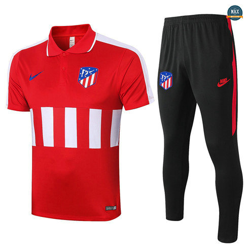 Max Maillots Atletico Madrid POLO + Pantalon 2020/21 Training Rouge/Blanc