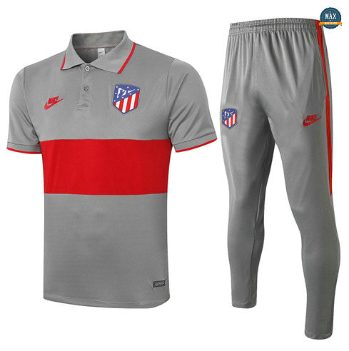 Max Maillots Atletico Madrid POLO + Pantalon 2020/21 Training Gris Foncé/Rouge