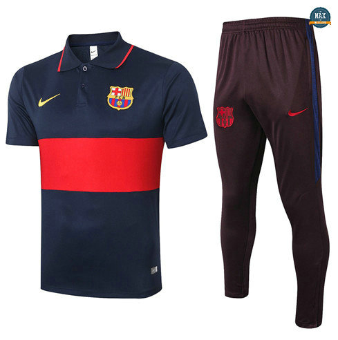 Max Maillots Barcelone POLO + Pantalon 2020/21 Training Bleu Marine/Rouge