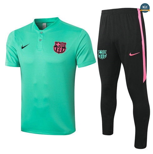 Max Maillots Barcelone POLO + Pantalon 2020/21 Training Vert clair