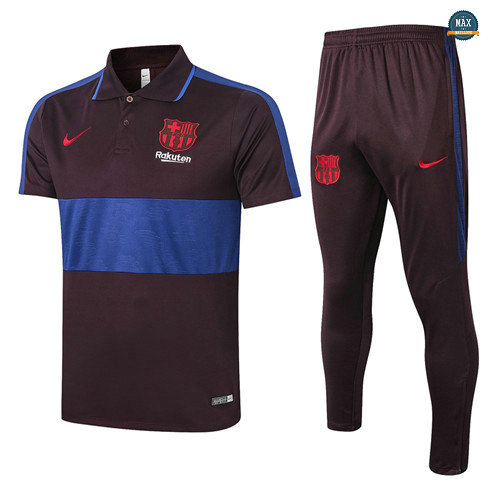 Max Maillots Barcelone POLO + Pantalon 2020/21 Training Marron/Bleu