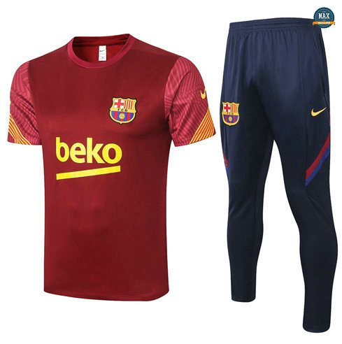 Max Maillots Barcelone + Pantalon 2020/21 Training Jujube Rouge