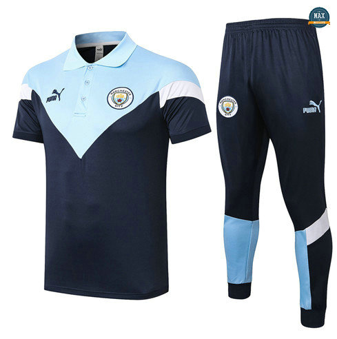 Max Maillots Manchester City POLO + Pantalon 2020/21 Training Bleu Clair