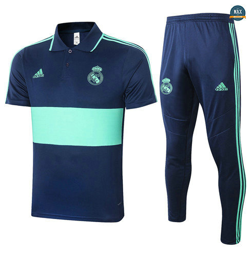 Max Maillots Real Madrid POLO + Pantalon 2020/21 Training Bleu Marine/Vert