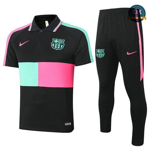 Max Barcelone POLO + Pantalon 2020 Training Noir/Vert/Rose