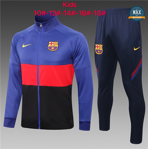 Max Veste Survetement Barcelone Enfant 2020/21 Bleu/Rouge