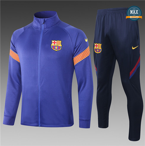 Max Veste Survetement Barcelone Enfant 2020/21 Bleu/Orange