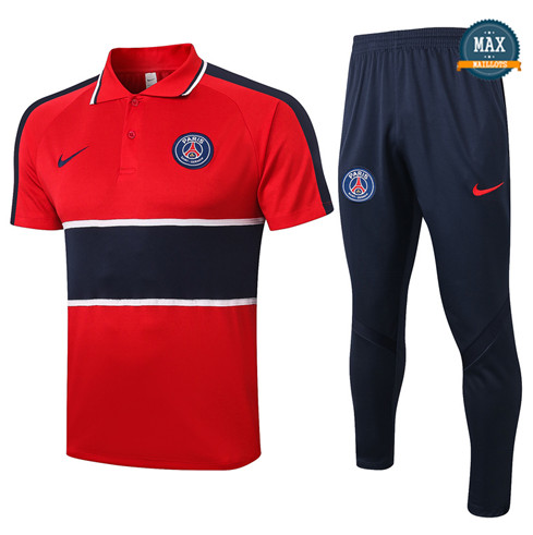 Paris Saint GermainPSG POLO + Pantalon 2020/21 Training Rouge/Bleu Marine