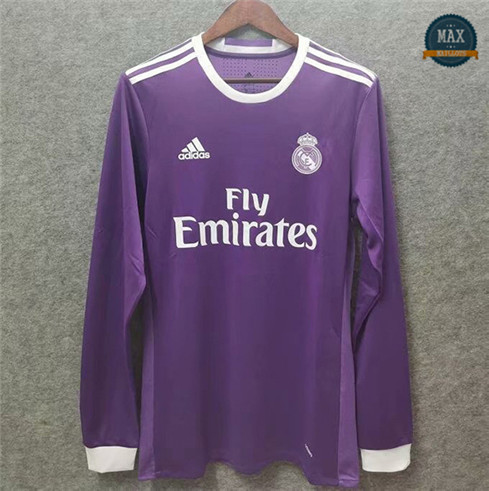 Max Maillot Retro 2016-17 Real Madrid Exterieur Manche Longue
