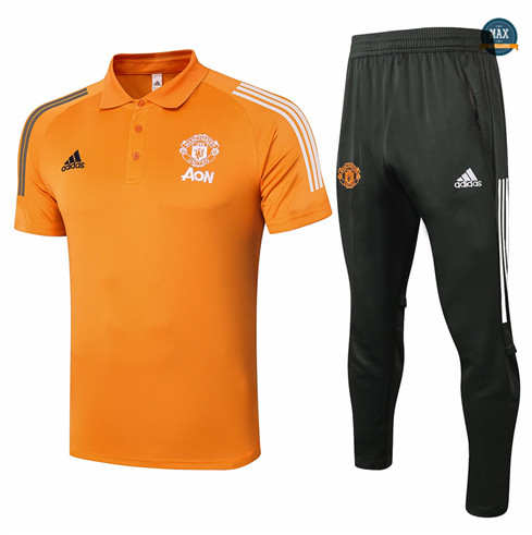 Max Maillot Manchester United Polo + Pantalon 2020/21 Training Orange