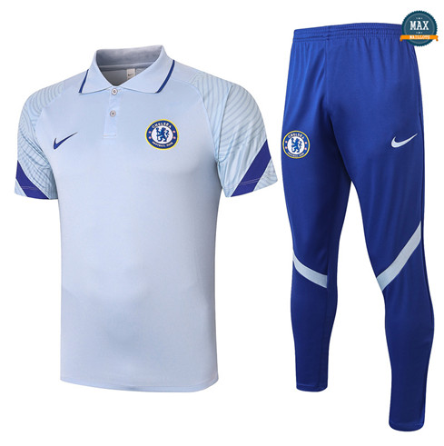 Max Maillots Chelsea Polo + Pantalon 2020/21 Training Gris clair
