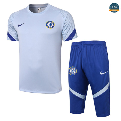 Max Maillot Chelsea + Pantalon 3/4 Training 2020/21 Gris clair