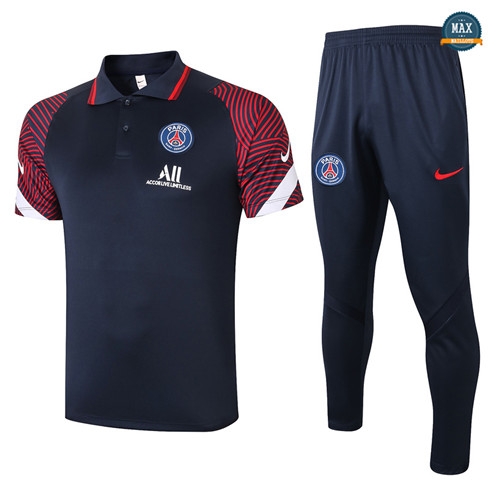 Max Maillot PSG Polo + Pantalon 2020/21 Training Bleu Marine/Rouge
