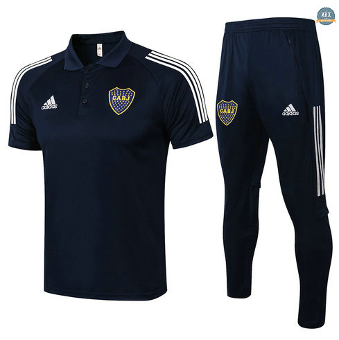 Max Maillot POLO Boca Juniors + Pantalon 2021/22 Training Bleu Marine