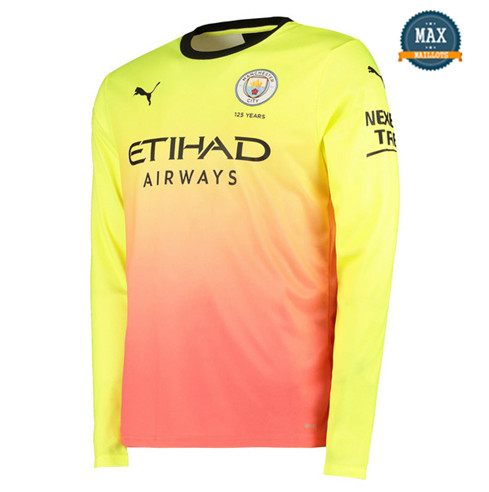 Maillot Manchester City Third 2019/20 Jaune Rose Manche Longue