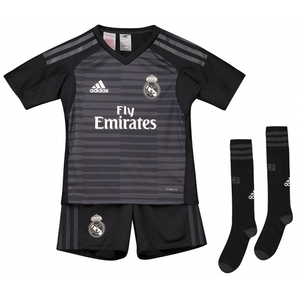 Maillot Real Madrid Domicile 2018/19 Gardien de but Enfant Noir/Gris
