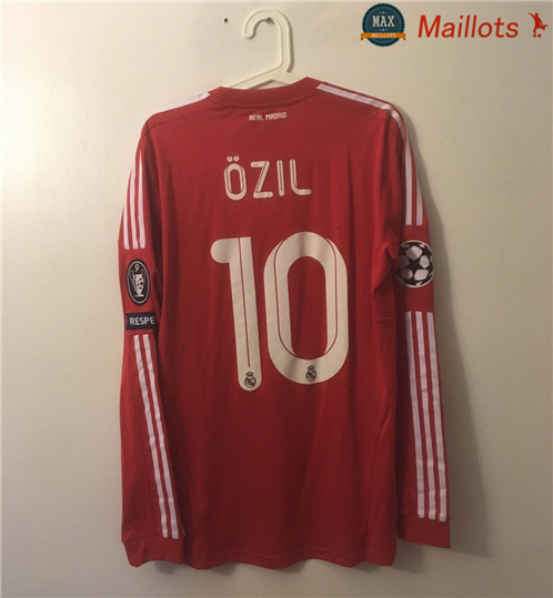 Maillot Retro 2011-12 Real Madrid Manche Longue Third Rouge (10 Ozil)