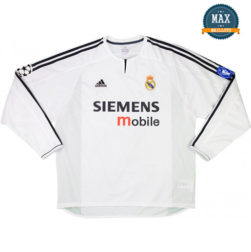 Maillot Retro 2003-04 UCL final Real Madrid Domicile Manche Longue