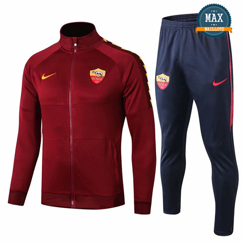 Veste Survetement AS Roma 2019/20 Jujube Rouge + Short Bleu
