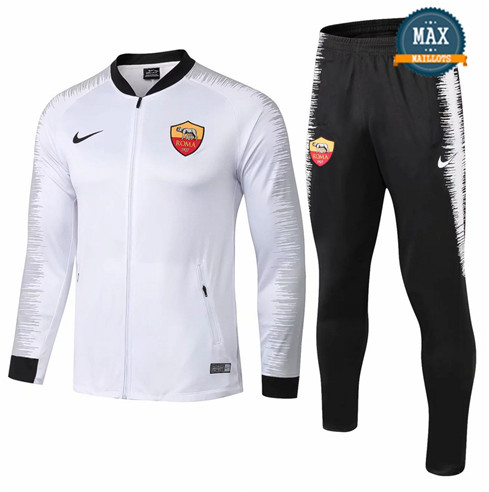 Veste Survetement AS Roma 2019/20 Blanc + Short Noir