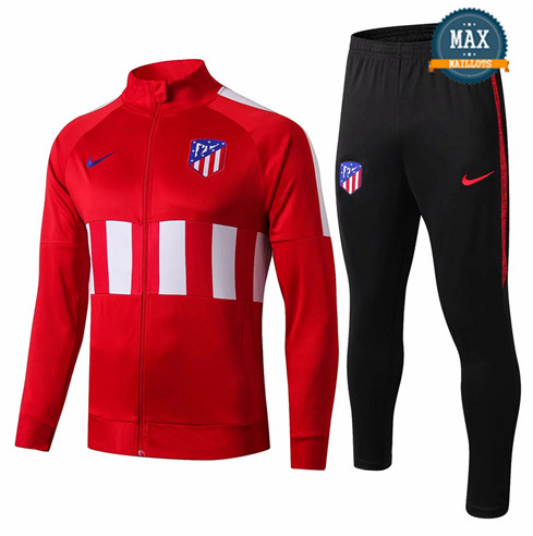 Veste Survetement Atletico Madrid 2019/20 Rouge Noir Col Rond