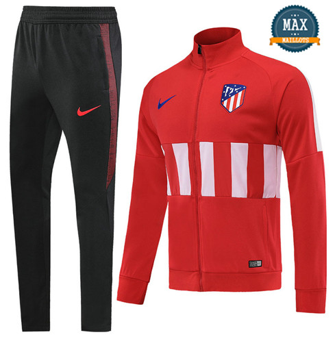 Veste Survetement Atletico Madrid 2019/20 Rouge/Blanc + Short Noir Col Haut