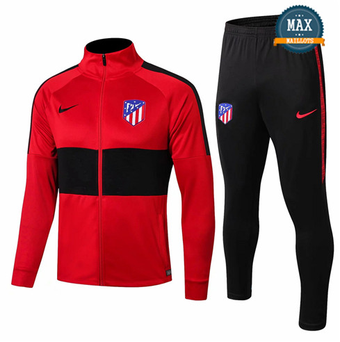 Veste Survetement Atletico Madrid 2019/20 Rouge/Noir Col Haut
