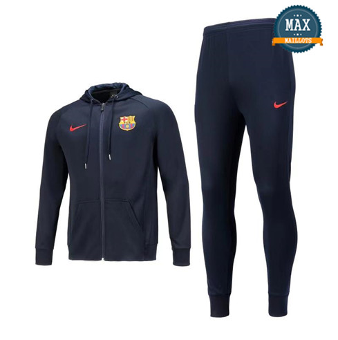 Veste Survetement à Capuche Barcelone 2019/20 Bleu Marine