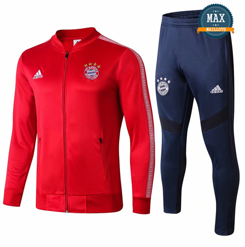 Veste Survetement Bayern Munich 2019/20 Rouge + Short Bleu col bas