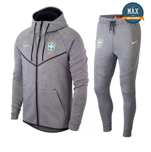 Veste Survetement Nike Brésil 2019/20 Gris Tech Fleece Windrunner