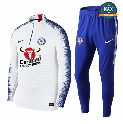 Survetement Chelsea 2019/20 Blanc + Short Bleu Strike Drill
