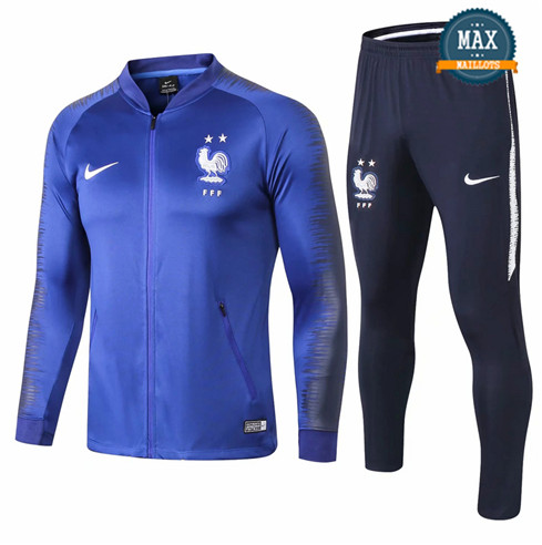 Veste Survetement France 2 Etoiles 2019/20 Bleu Gris Strike Drill