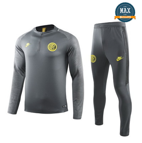 Survetement Inter Milan 2019/20 Gris Col Rond sweat zippé