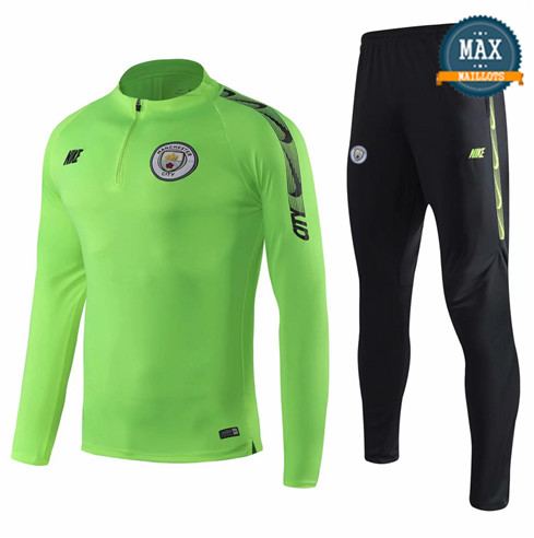 Survetement Manchester City 2019/20 Vert + Short Noir