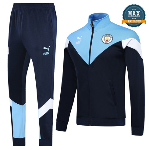 Veste Survetement Manchester City 2019/20 Bleu Clair/Bleu Marine