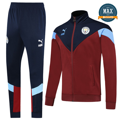 Veste Survetement Manchester City 2019/20 Rouge/Bleu Col Haut