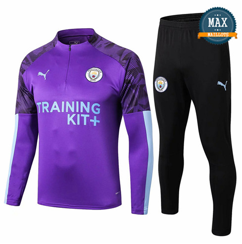 Survetement Manchester City 2019/20 Violet + Short Noir