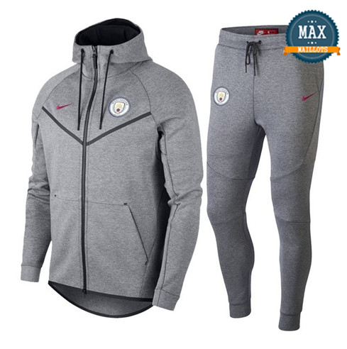 Veste Survetement Nike Manchester City 2019/20 Gris Tech Fleece Windrunner