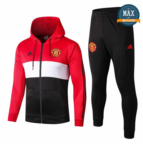 Veste Survetement à Capuche Manchester United 2019/20 Rouge/Blanc/Noir