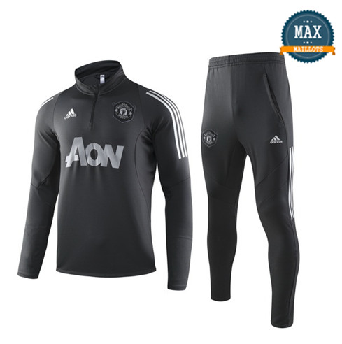 Survetement Manchester United 2019/20 Noir Col Haut sweat zippé
