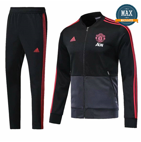 Veste Survetement Manchester United 2019/20 Noir/Gris