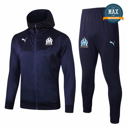 Veste Survetement à Capuche Marseille 2019/20 Bleu Marine