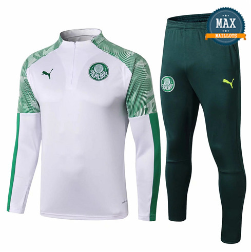 Survetement Palmeiras 2019/20 Blanc/Vert sweat zippé