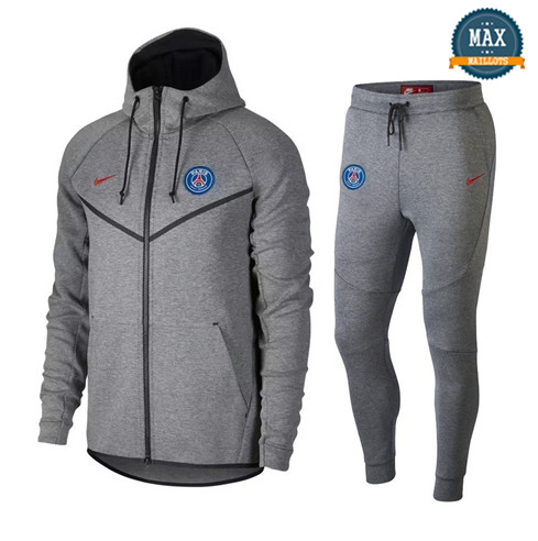 Veste Survetement Nike PSG 2019/20 Gris Tech Fleece Windrunner