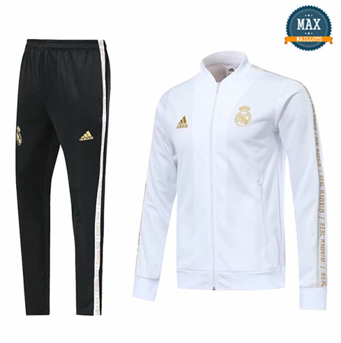 Veste Survetement Real Madrid 2019/20 Blanc col bas
