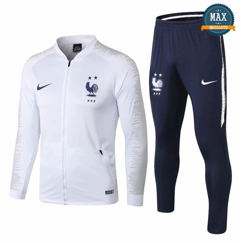 Veste Survetement Enfant France Blanc 2019/20